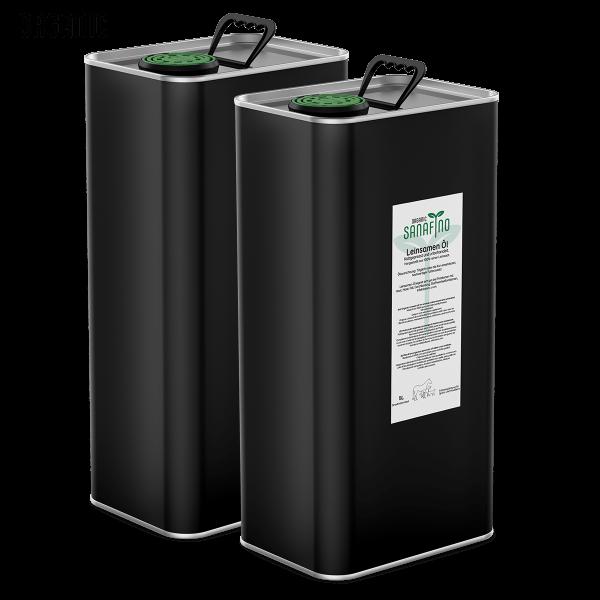 Huile de lin organique, pressée à froid, 10L (2 x 5 litres)